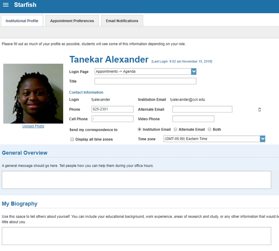screenshot from Starfish instructor profile showing available fields.