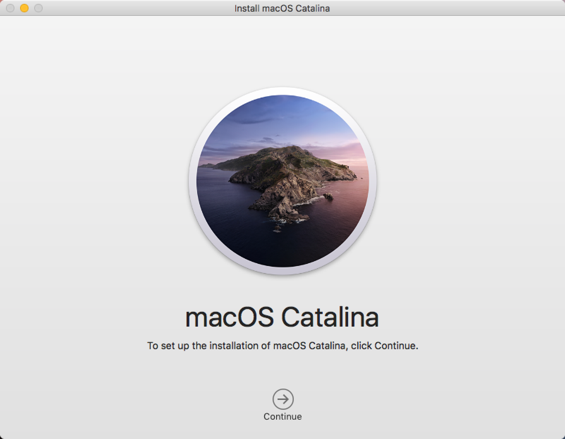 Install MacOS Catalina Window with Continue button